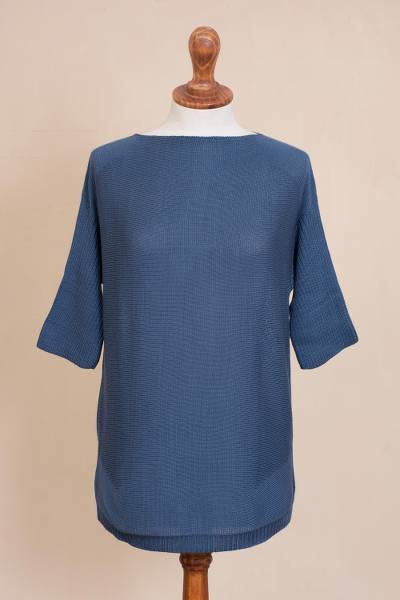 Pima cotton pullover, 'Sporty Azure' - Knit Pima Cotton Pullover in Azure from Peru