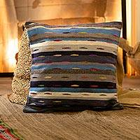Wool cushion cover, 'Stripes in Motion' - Multicolored Striped Wool Cushion Cover from Peru