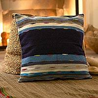 Wool cushion cover, 'Moving Stripes' - Blue and Grey Striped Wool Cushion Cover from Peru