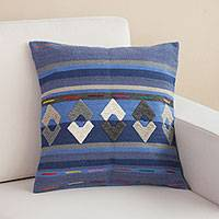 Wool cushion cover, 'Geometry in Motion' - Geometric Striped Wool Cushion Cover from Peru