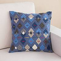Wool cushion cover, 'Moving Geometry' - Handwoven Geometric Wool Cushion Cover from Peru