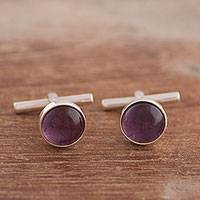 Amethyst cufflinks, 'Masculine Purple' - Men's Amethyst Cufflinks Crafted in Peru