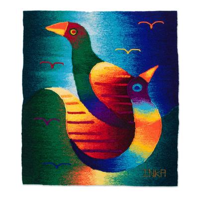 Handwoven Bird-Themed Alpaca Blend Tapestry from Peru