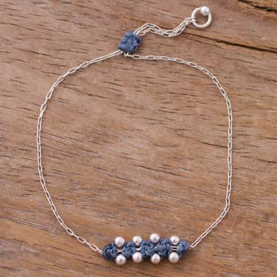Sterling silver pendant bracelet, 'Gleaming Beads in Peacock' - Sterling Silver Pendant Bracelet in Peacock from Peru