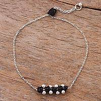 Sterling silver pendant bracelet, 'Gleaming Beads in Black' - Sterling Silver Pendant Bracelet in Black from Peru