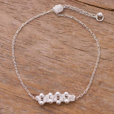 Sterling silver pendant bracelet, 'Gleaming Beads in White' - Sterling Silver Pendant Bracelet in White from Peru