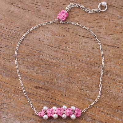 Sterling silver pendant bracelet, 'Gleaming Beads in Blush' - Sterling Silver Pendant Bracelet in Blush from Peru
