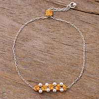 Sterling silver pendant bracelet, 'Gleaming Beads in Saffron' - Sterling Silver Pendant Bracelet in Saffron from Peru