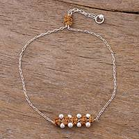 Sterling silver pendant bracelet, 'Gleaming Beads in Ginger' - Sterling Silver Pendant Bracelet in Ginger from Peru