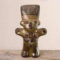 Ceramic figurine, 'Gold Cuchimilco Man' - Ceramic Cuchimilco Man Figurine in Gold from Peru