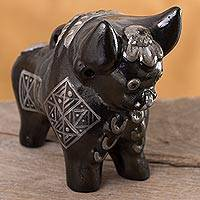 Ceramic figurine, 'Black Pucara Torito' - Ceramic Torito de Pucara Figurine in Black from Peru