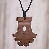 Wood pendant necklace, 'The Lady of Cao' - Handcrafted Mochica-Themed Wood Pendant Necklace from Peru