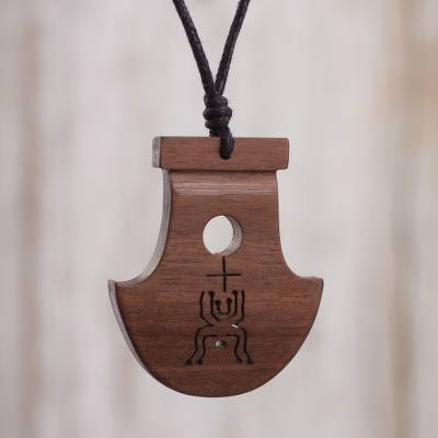 Wood pendant necklace, 'Cao Divinity' - Wood Pendant Necklace Inspired by Mochica Cultures from Peru