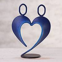 Steel sculpture, 'Our Heart in Dark Blue' - Abstract Steel Heart Sculpture in Dark Blue from Peru