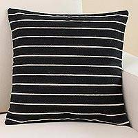 Wool cushion cover, 'Between the Lines' - Handwoven Wool Cushion Cover in Black and White from Peru