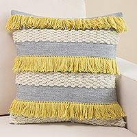 Wool cushion cover, 'Andean Festivity' - Handwoven Tri-Color Wool Cushion Cover from Peru
