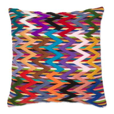 Colorful Zigzag Motif Wool Cushion Cover from Peru