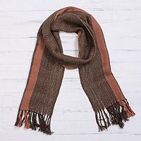 100% alpaca scarf, 'Andean Zigzag in Mahogany' - Handwoven 100% Alpaca Wrap Scarf in Mahogany from Peru