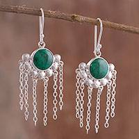 Chrysocolla chandelier earrings, 'Bauble Delight' - Natural Chrysocolla Chandelier Earrings from Peru