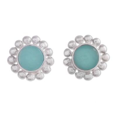 Opal button earrings, 'Bauble Delight' - Blue Opal Button Earrings from Peru