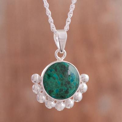 Chrysocolla pendant necklace, 'Bauble Delight' - Natural Chrysocolla Pendant Necklace from Peru