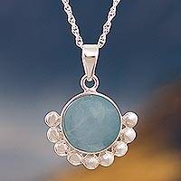 Opal pendant necklace, 'Bauble Delight' - Blue Opal Pendant Necklace from Peru
