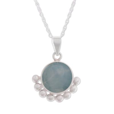 Opal pendant necklace, 'Bauble Delight' - Blue Opal Pendant Necklace from Peru