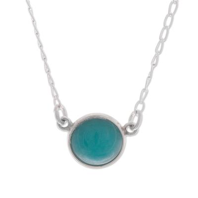 Amazonite pendant necklace, 'Gazing Pool' - Round Amazonite Set in Sterling Silver Pendant Necklace