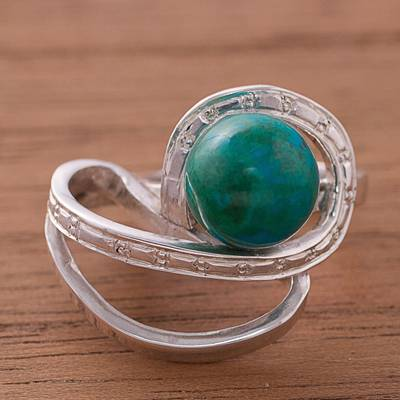 Chrysocolla cocktail ring, 'Verdant Infinity' - Natural Chrysocolla Cocktail Ring from Peru