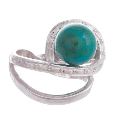 Natural Chrysocolla Cocktail Ring from Peru