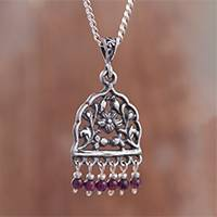 Garnet pendant necklace, 'Vintage Floral Window' - Floral Garnet Pendant Necklace from Peru