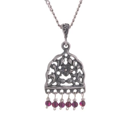 Garnet pendant necklace, 'Vintage Floral Window' - Floral Garnet Pendant Necklace from Peru