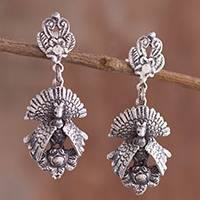 Sterling silver dangle earrings, 'Turkey Plumage' - Sterling Silver Turkey Dangle Earrings from Peru