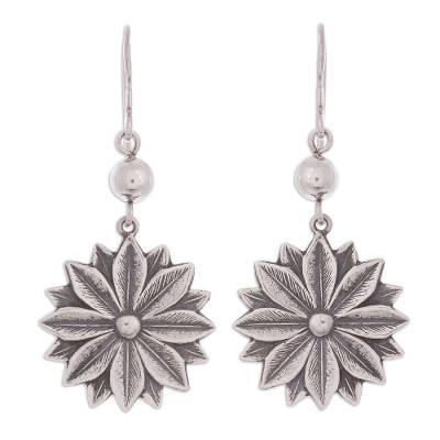 Sterling silver dangle earrings, 'Sophisticated Flowers' - Floral Sterling Silver Dangle Earrings from Peru