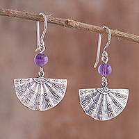 Amethyst dangle earrings, 'Purple Fans' - Fan-Shaped Amethyst Dangle Earrings from Peru