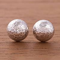 Sterling silver stud earrings, 'Lunar Veins' - Combination Finish Sterling Silver Stud Earrings from Peru