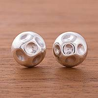 Sterling silver stud earrings, 'Lunar Lakes' - Gleaming Sterling Silver Stud Earrings from Peru