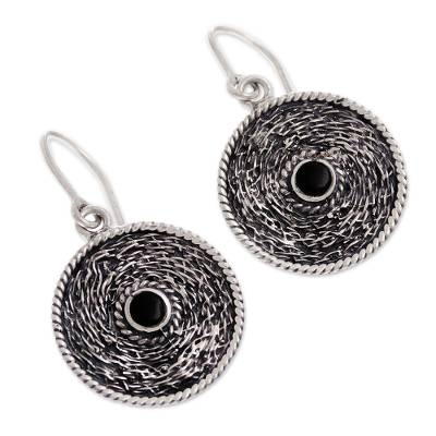 Round Obsidian Dangle Earrings from Peru