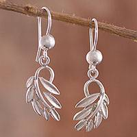 Sterling silver dangle earrings, 'Beautiful Fronds' - Leafy Sterling Silver Dangle Earrings from Peru