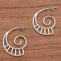 Sterling silver half-hoop earrings, 'Curling Ladders' - Spiral Motif Sterling Silver Half-Hoop Earrings from Peru