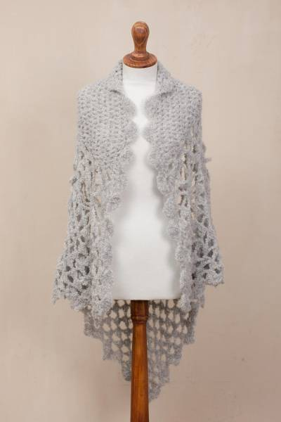 Alpaca blend shawl, 'Dove Grey Flow' - Hand-Crocheted Alpaca Blend Shawl in Dove Grey from Peru