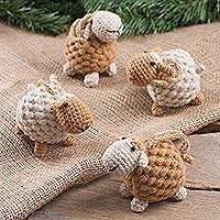 Wool blend ornaments, 'Sweet Sheep in Light Brown' (set of 4) - Hand Crocheted Tan Wool Blend Sheep Ornaments (Set of 4)
