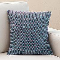 Acrylic cushion cover, 'Waves at Sunset' - Pink and Blue Hand Woven Acrylic Cushion Cover from Peru