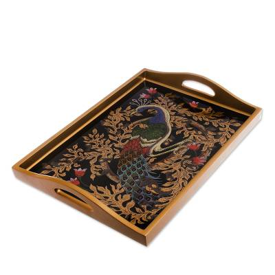 Reverse-Painted Glass Peacock Tray in Gold (17 in.)
