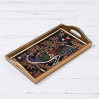 Reverse-painted glass tray, 'Peacock Presentation' - Handcrafted Colorful Peacock Reverse-Painted Glass Tray