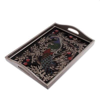 Reverse-Painted Glass Peacock Tray in Silver (17 in.)