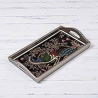 Reverse-painted glass tray, 'Peacock Charm in Silver' (12 inch) - Reverse-Painted Glass Peacock Tray in Silver (12 in.)