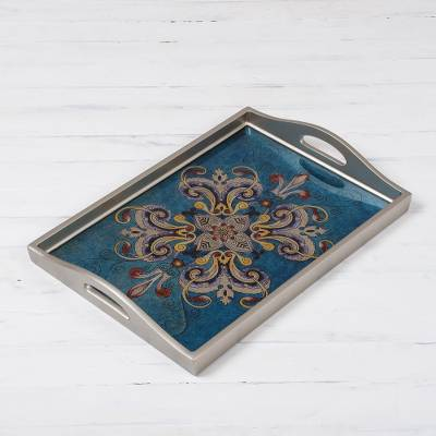 Reverse-painted glass tray, Enchanting Flowers in Blue