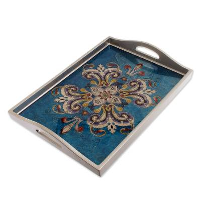 Floral Reverse-Painted Glass Tray in Blue from Peru