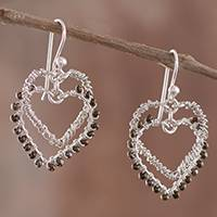 Silver dangle earrings, 'Heart Duo' - Glass Beaded Silver Heart Dangle Earrings from Peru